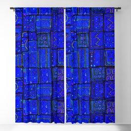 (N17) Calm Indigo Blue Boho Traditional Moroccan Artwork Blackout Curtain