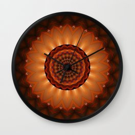 Mandala orange brown Wall Clock