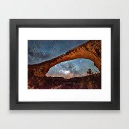 Natural Bridge and the Milky Way in Utah Framed Art Print