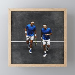 Nadal and Federer Doubles Framed Mini Art Print
