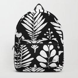 Geometric Florals Black White Monochrome Flower Ornaments Pattern Backpack