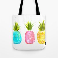 pineapples Tote Bags featuring Pineapples  by Melanie Dorsey Designs