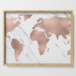 Marble World Map Rose Gold Pink Serving Tray