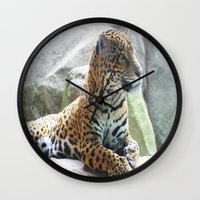 jaguar Wall Clocks featuring Jaguar by NaturallyJess