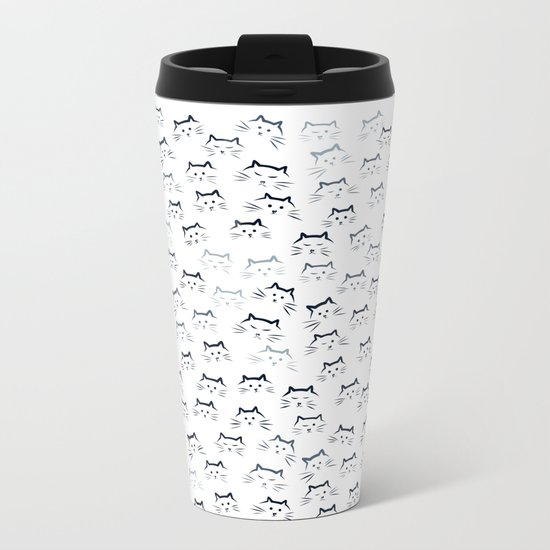 Black and White Cat-mouflage Metal Travel Mug
