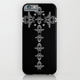 'Faith' - Cross of Lace in black and white iPhone Case