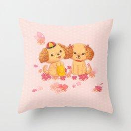 dog couple sweet sakura Throw Pillow