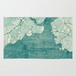Istanbul Map Blue Vintage Rug