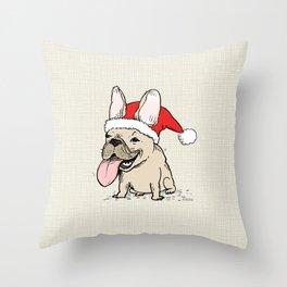 Frenchie Clause French Bulldog Santa Throw Pillow