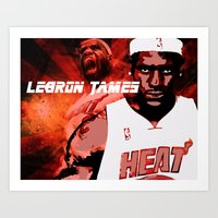 lebron Art Prints featuring Lebron James: #4 Hall of Fame Series by Sifa Blackmon