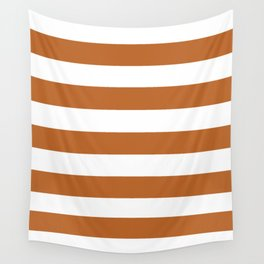Ruddy brown - solid color - white stripes pattern Wall Tapestry