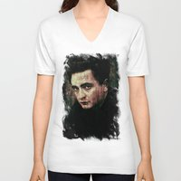johnny cash V-neck T-shirts featuring Cash by Sirenphotos