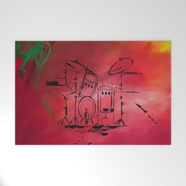 Music, Drummer, Drums, Orignal Artwork By Jodi Tomer. Rock and Roll Drums Welcome Mat