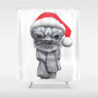 Christmas Ostrich red G145 Shower Curtain