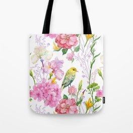Pink Irises, Hydrangeas, Greenery, Yellow Birds Tote Bag