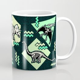 90's Dinosaur Skeleton Neon Pattern Coffee Mug