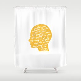 Head profile with positive attitude Shower Curtain