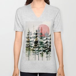 Forest Trees and Red Sun Unisex V-Neck