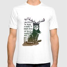 Hipster Cat giving Smart Advice White Mens Fitted Tee MEDIUM