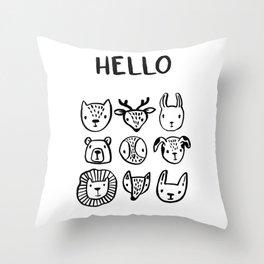 Say Hello Throw Pillow