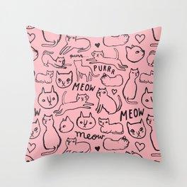 Meow Cats Throw Pillow