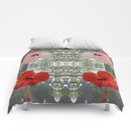 Passion for red_grey symmetry Comforters