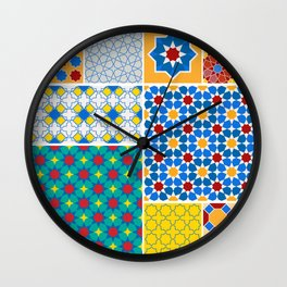 Moroccan pattern, Morocco. Patchwork mosaic with traditional folk geometric ornament. Tribal orienta Wall Clock