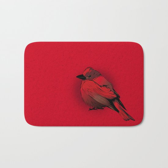 Little Red Bird Bath Mat