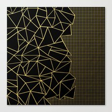 Abstract Outline Grid Gold Canvas Print
