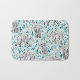 Baby Elephants and Egrets in Watercolor - egg shell blue Bath Mat
