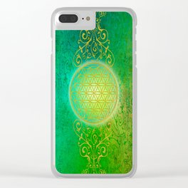 Flower Of Life Vintage gold green Clear iPhone Case