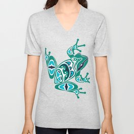 Frog Pacific Northwest Native American Indian Style Art Unisex V-Neck