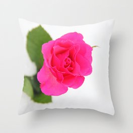 Pink Rose in the Snow Throw Pillow