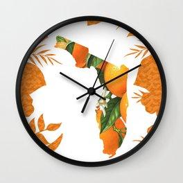 Florida Orange Blossom Wreath Wall Clock