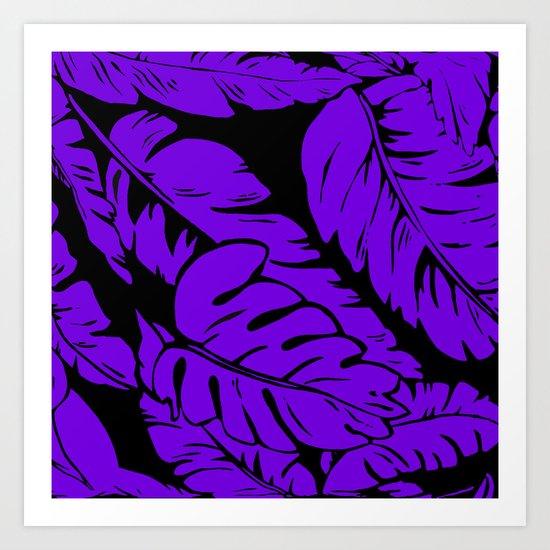 PALM LEAF PURPLE Art Print