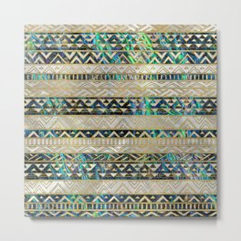 Tribal Ethnic  Pattern Gold on Abalone Shell and Pearl Metal Print