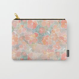 Orange, pink flowers on gray-green background. Carry-All Pouch