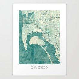 San Diego Map Blue Vintage Art Print