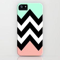 DOUBLE COLORBLOCK CHEVRON {MINT/CORAL/BLACK} Slim Case iPhone (5, 5s)