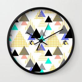 Geometric elements Memphis Postmodern Retro style 80-90s. Wall Clock