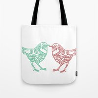 birdy Tote Bags featuring Birdy by Charline Denys
