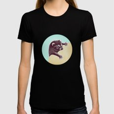 Climbing Raccoon Womens Fitted Tee Black SMALL