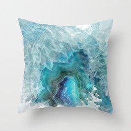Blue Aqua Agate Throw Pillow