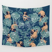 climbing Wall Tapestries featuring Climbing Pug & Floral  by Huebucket
