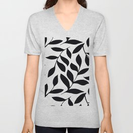 BLACK AND WHITE LEAVES PATTERN Unisex V-Neck