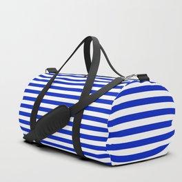 Cobalt Blue and White Thin Horizontal Deck Chair Stripe Duffle Bag