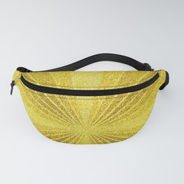 Geometric gold glitter mosaic, diagonal sun rays, gold abstract sparkles Fanny Pack