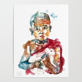 Monk with rabbit Poster