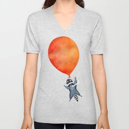 Raccoon and Balloon Unisex V-Neck