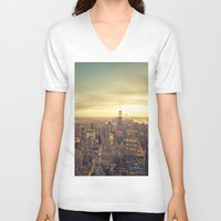 skyline V-neck T-shirts featuring New York Skyline Cityscape by Vivienne Gucwa